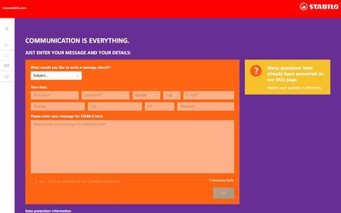 Screenshot of Contact Page stabilo.com - Contact   STABILO.com - captured Nov. 18, 2016