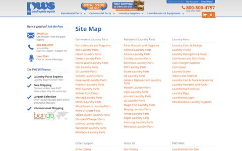 Screenshot of Site Map Page pwslaundry.com - Site Map - captured Jan. 24, 2016
