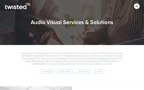 Screenshot of Services Page twistedpair.co.uk - Data, Audio Visual Services & Solutions | Twisted Pair - captured Oct. 18, 2018