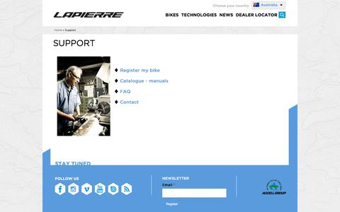 Screenshot of Support Page lapierrebikes.ca - Support | Cycles Lapierre - captured June 26, 2016