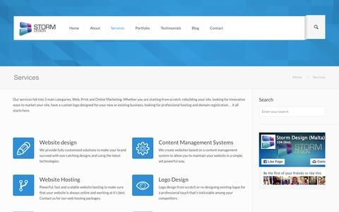 Screenshot of Services Page storm-design.net - Web design and development services - captured Aug. 15, 2015