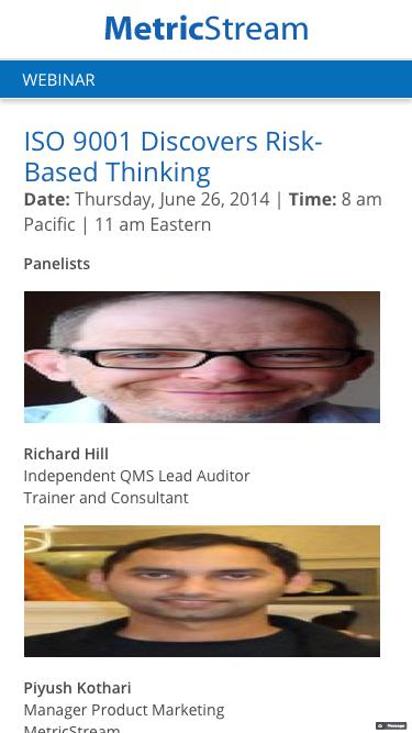 WEBINAR: ISO 9001 Discovers Risk-Based Thinking