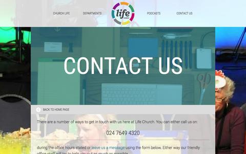 Screenshot of Contact Page lifechurch.eu - Contact Us - captured Jan. 30, 2016