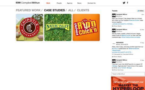 Screenshot of Case Studies Page cmithun.com - Work - Campbell Mithun - captured Oct. 1, 2014