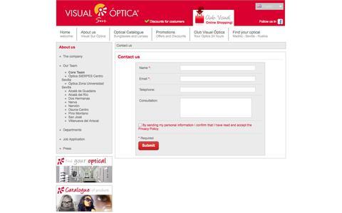 Screenshot of Contact Page visualoptica.es - Visual Sur Optica | Optica Online - Opticas en Madrid Sevilla Huelva - captured Oct. 26, 2014