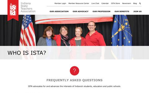 Screenshot of FAQ Page ista-in.org - Indiana State Teachers Association   Who is ISTA? - captured Oct. 15, 2017