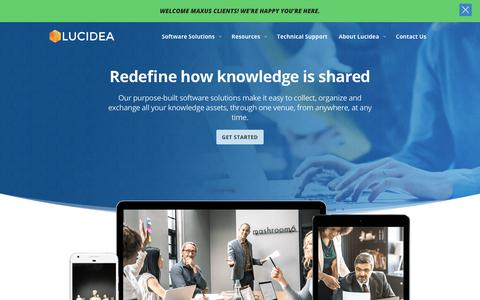Screenshot of Home Page lucidea.com - Lucidea | Redefine how Knowledge is Shared - captured Sept. 11, 2018
