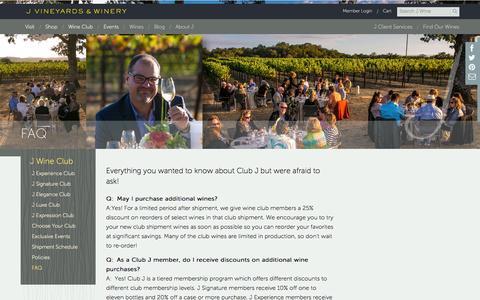 Screenshot of FAQ Page jwine.com - FAQ - captured Oct. 3, 2014