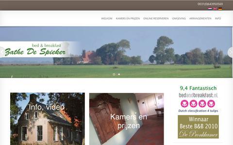 Screenshot of Home Page bedandbreakfastfriesland.eu - Luxe Bed and Breakfast Friesland Zathe De Spieker - WelkomZathe De Spieker - captured Sept. 24, 2018
