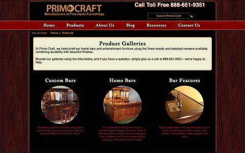 Screenshot of Products Page primocraft.com - Product Galleries - Primo Craft - captured Sept. 30, 2018