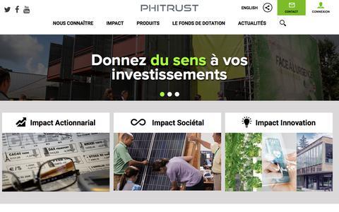 Screenshot of Home Page phitrust.com - Phitrust - Donnez du sens à vos investissements - captured July 18, 2018
