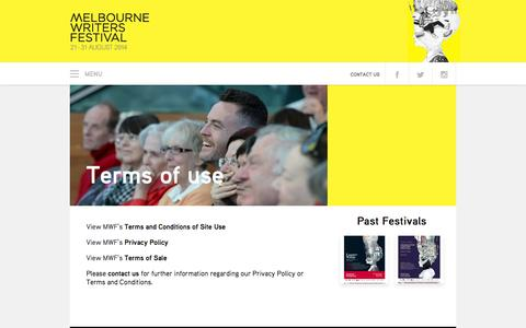 Screenshot of Terms Page mwf.com.au - Terms of use → Melbourne Writers Festival - captured Sept. 19, 2014