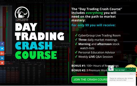 Screenshot of Trial Page cybertradinguniversity.com - Day Trading Crash Course - Cyber Trading University - captured March 15, 2019