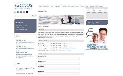 Screenshot of Contact Page cronos.be - Contact Us | Cronos - captured Sept. 15, 2017