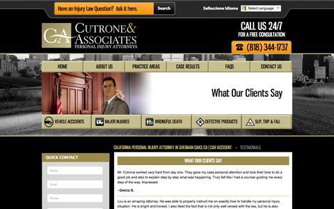 Screenshot of Testimonials Page california-personal-injury-lawfirm.com - Testimonials - captured Sept. 23, 2014