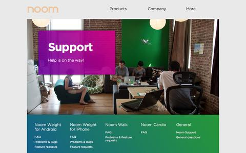 Screenshot of Support Page noom.com - Noom Support - captured Sept. 16, 2014