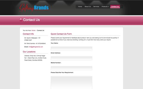 Screenshot of Contact Page giftingbrands.com - Contact us- Quick Inquiry Form or Email at info@giftingbrands.com - Gifting Brands - captured Sept. 30, 2014