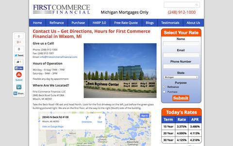 Screenshot of Contact Page firstcommercefinancial.com - First Commerce Financial Contact Info, Hours, Location in Wixom, MI - captured Sept. 30, 2014