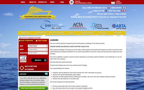 Screenshot of Jobs Page cruisingexcursions.com - careers - captured Sept. 19, 2014