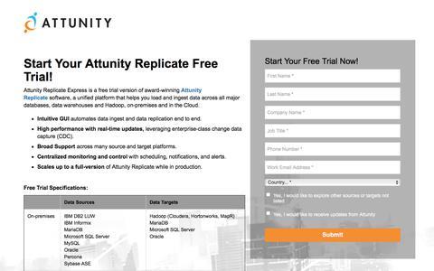 Screenshot of Trial Page attunity.com - Attunity Replicate Free Trial - captured June 26, 2018