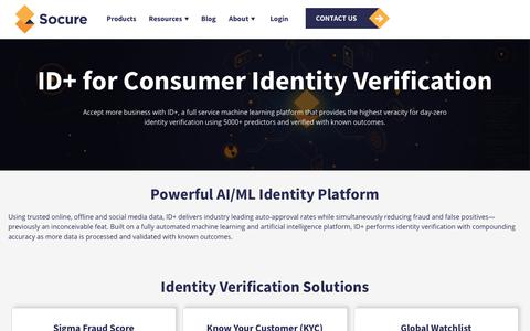 Screenshot of Products Page socure.com - ID+ for Consumer Identity Verification - captured Oct. 27, 2019