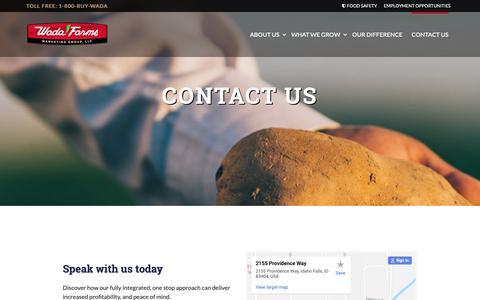 Screenshot of Contact Page wadafarms.com - Contact Us | Wada Farms - captured Oct. 19, 2018
