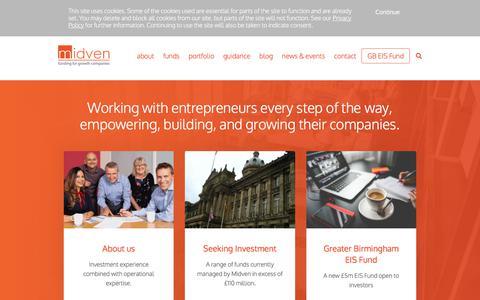 Screenshot of Home Page midven.co.uk - Midven - captured Sept. 20, 2018