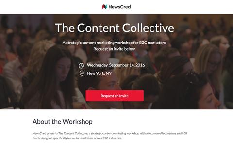 Screenshot of Landing Page newscred.com - Content Collective Workshop - captured Feb. 12, 2017