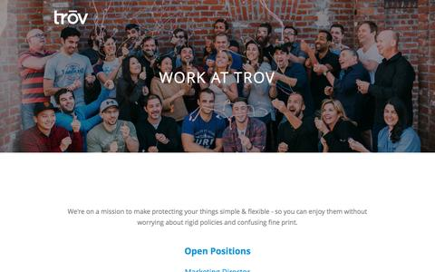 Screenshot of Jobs Page trov.com - Trōv Careers - captured Nov. 20, 2016