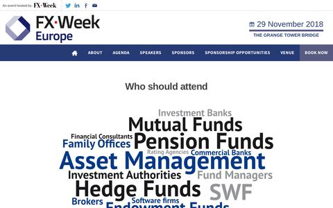 Screenshot of About Page fxweekeurope.com - Who should attend - FX Week Europe - captured Oct. 21, 2018