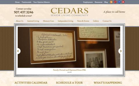 Screenshot of Home Page cedarsofaustin.com - Comfortable & Personalized Senior Housing | Assisted Living, Memory Care, Independent Living, Respite Care - captured July 16, 2018