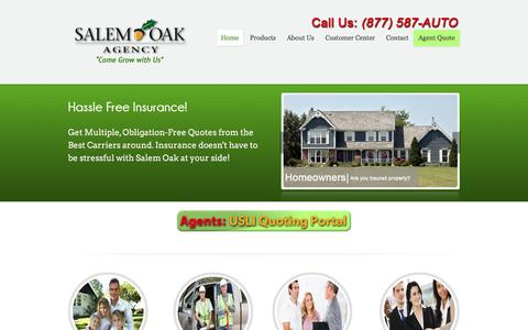 Screenshot of Home Page salemoakagency.com - Salem Oak Agency | Insurance for Home, Auto, Business and moreSalem Oak Agency - captured July 26, 2018