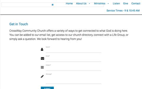 Screenshot of Contact Page crosswaytoday.org - Crossway Community Church - captured Sept. 16, 2017