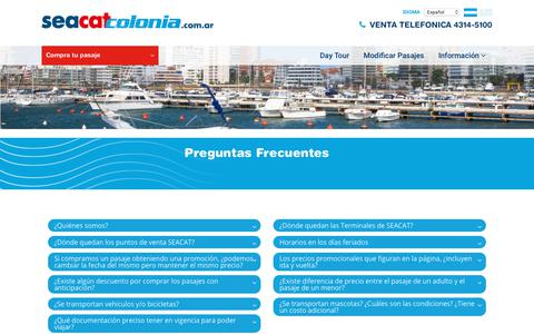 Screenshot of FAQ Page seacatcolonia.com.ar - Seacat Colonia | Pasajes a Buenos Aires Colonia. Tarifas para Colonia, Uruguay. Viajes a Colonia y Buenos Aires - captured Oct. 21, 2018