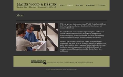 Screenshot of About Page mwdsgn.com - About – Maine Wood & Design - captured Feb. 4, 2016