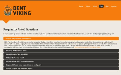 Screenshot of FAQ Page dentviking.com - Common Questions about Paintless Dent Removal | Dent Viking - captured Sept. 30, 2014