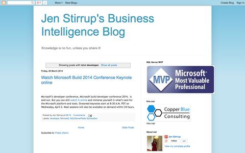 Screenshot of Developers Page jenstirrup.com - Jen Stirrup's Business Intelligence Blog: developer - captured Oct. 3, 2014