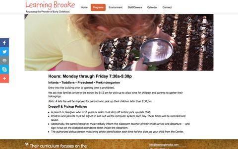 Screenshot of Hours Page learningbrooke.com - Learning Brooke | Hours - captured May 16, 2017