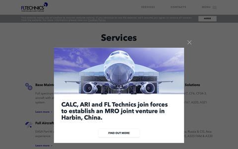 Screenshot of Services Page fltechnics.com - FL Technics   Services - FL Technics - captured Nov. 14, 2018