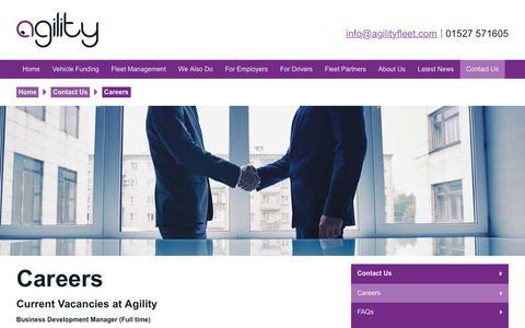 Screenshot of Jobs Page agilityfleet.com - Careers   Agility Fleet - captured July 29, 2018