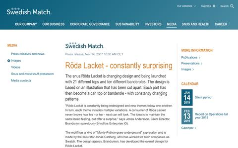 Screenshot of Press Page swedishmatch.com - Swedish Match - Röda Lacket - constantly surprising - captured Nov. 1, 2018