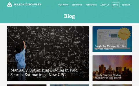 Screenshot of Blog searchdiscovery.com - Digital Marketing and Analytics Blog | Search Discovery - captured Jan. 12, 2016