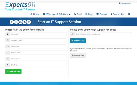 Screenshot of Login Page experts911.com - Start an IT Support Session • Experts 911 - captured Dec. 14, 2015