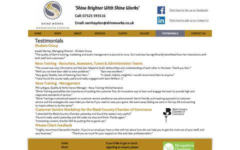Screenshot of Testimonials Page shineworks.co.uk - Shine Works | Testimonials - captured Nov. 5, 2017