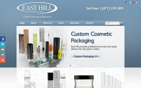 Screenshot of Home Page packagingcosmetics.com - Cosmetic Packaging | East Hill Industries Inc. - captured Oct. 1, 2014