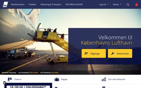 Screenshot of Home Page cph.dk - Københavns Lufthavne - captured July 9, 2017