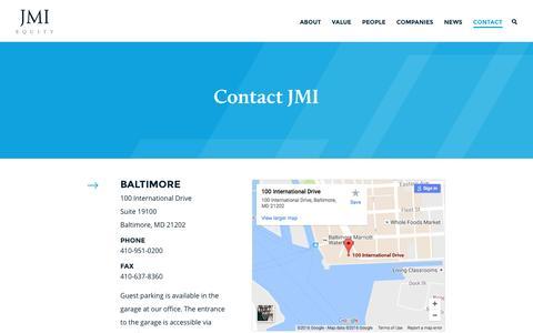 Screenshot of Contact Page jmi.com - JMI Equity – Contact - captured Nov. 18, 2016