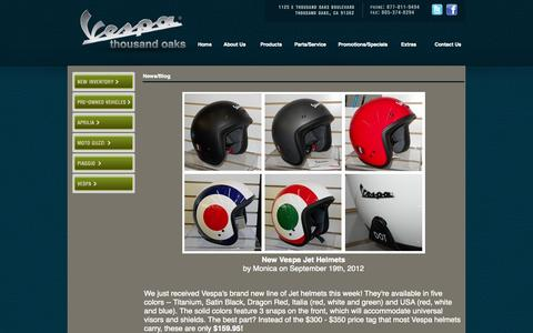 Screenshot of Press Page tovespa.com - Vespa, Piaggio, Aprilia, Moto Guzzi Thousand Oaks - captured Oct. 7, 2014