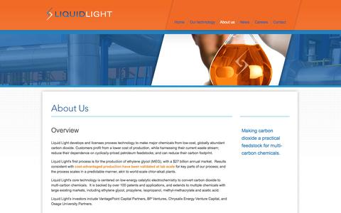 Screenshot of About Page llchemical.com - Liquid Light | Make carbon dioxide a practical feedstock for multi-carbon chemicals - captured Sept. 16, 2014