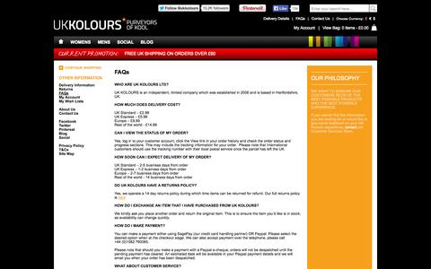 Screenshot of FAQ Page ukkolours.com - UK Kolours - Frequently Asked Questions - captured Sept. 30, 2014